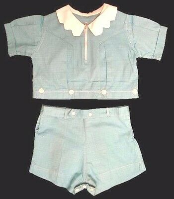 Vintage Boys  Shorts Set  2pc Aqua White1940S