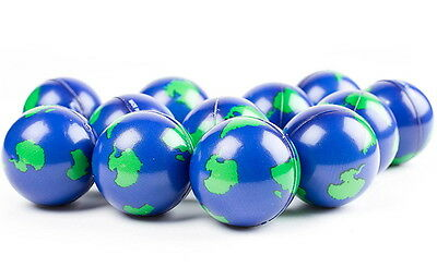 "3 Pack  Earth World Globe Stress  Balls, Squeeze Toys,  2"" Hand Exercise Ball"