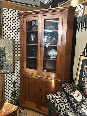 Antique Colonial Corner China Cabinet, c1800-20, Yellow Pine, 2-pc.
