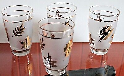 Vintage 4 Libbey Gold Leaf Golden Foliage water tumbler barware set Perfect Cond