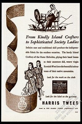 1947 Harris Tweed woolen fabric women hunting & spinning art vintage print ad