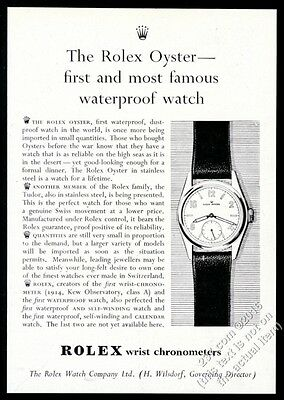 1947 Rolex Oyster watch First And Most Famous Waterproof vintage print ad