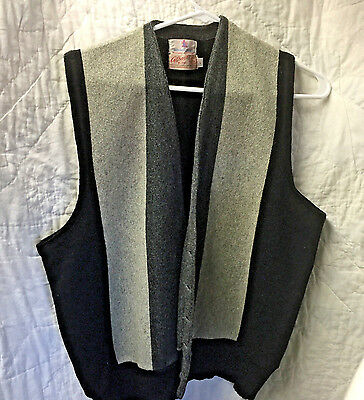 Vtg 50's Mens Vest~Black & Gray~ MITCHELL-GORDON~ 501 DIVERSEY PKWT~CHICAGO~L~