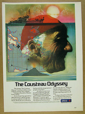 1978 Jacques Cousteau & Calypso art PBS TV Special promo vintage print Ad