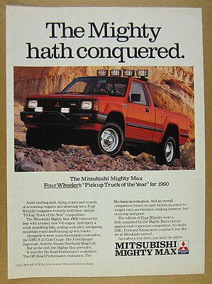 1990 Mitsubishi MIGHTY MAX 4WD Pickup Truck photo vintage print Ad