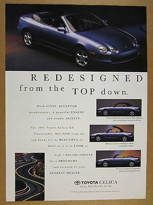 1994 Toyota Celica GT Convertible blue car photo vintage print Ad