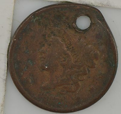 """1837 Matron Head Large Cent, """"Young Head"""" ***Hole *Z39"""
