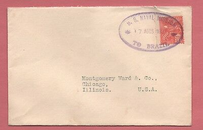 1927 Us Navy Mission To Brazil Oval Cancel On Official Envelope To Usa