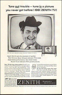 1961 vintage television AD ZENITH TV  RED SKELTON on the Tube !031816