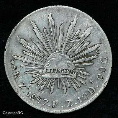 Mexico Silver 8 Reales 8R Zs 1887 F.Z. Liberty Cap & Rays Foreign Coin - XF/AU
