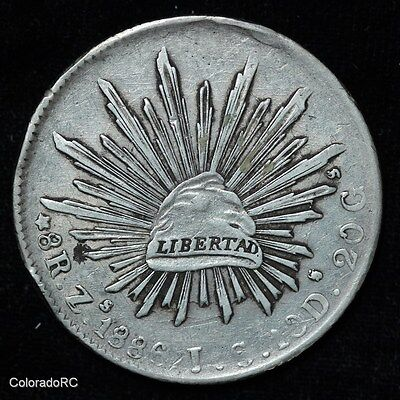 Mexico Silver 8 Reales 8R Zs 1886 I.S. Liberty Cap & Rays Foreign Coin - VF/XF