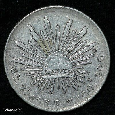 Mexico Silver 8 Reales 8R Zs 1893 F.Z. Liberty Cap & Rays Foreign Coin - XF