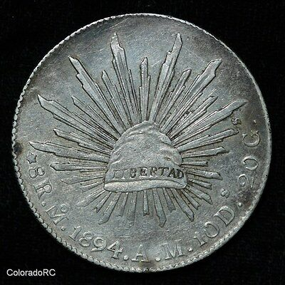 Mexico Silver 8 Reales 8R Mo 1894 A.M. Liberty Cap & Rays Foreign Coin - AU