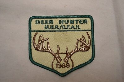 Vintage Deer Hunter Patch Ontario Canada 1988 MNR/OFAH