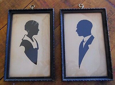 Framed Vintage Black Silhouette Portraits Young Man + Woman Flapper Headscarf