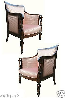 Pair French Italian Directoire Style Carved Walnut Neoclassical Lounge Chairs