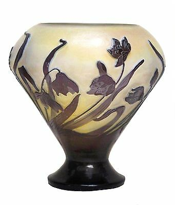 Authentic Antique French Signed Emile Galle Onion Shape Cameo Art Glass Vase