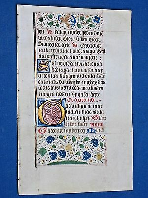 Medieval Manuscript Lf.in the Vernacular,Book of Hours,Vellum,Gold Initia.c.1475