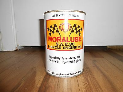 Vintage MORALUBE Tin Quart Advertising Oil Can with Checker Racing Flag HTF FULL
