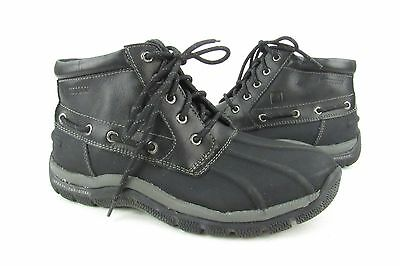 New Sperry Top-Sider Black Leather Lace Up Waterproof Boots Men's Size 8.5M