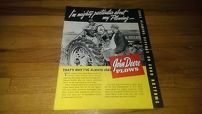 Antique 1940 John Deere Tractor Plows Brochure Poster Farming Advertising
