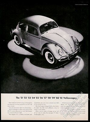 1961 VW Volkswagen Beetle classic car in spotlight photo vintage print ad