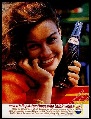 1961 Pepsi-Cola smiling woman with bottle color photo vintage print ad