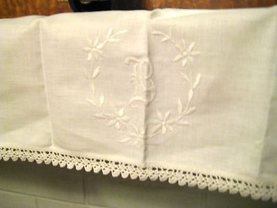 Antique Linen Mantle Buffet Table Runner  Monogram B Crochet Reticella Insert
