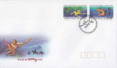 2004 Christmas Island Year of The Monkey (Gummed Pair) FDC