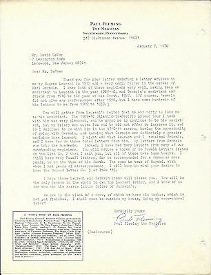 Magician Paul Fleming Signed Letterhead-1970-Germain/Laurant assistant-vFine--Oh