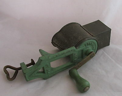 Antique Kitchenware Painted Green Lorraine Metal Mfg NY Crank Cheese Grater