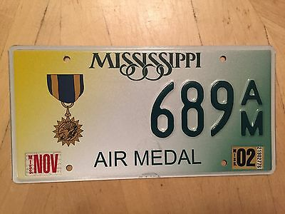 "Mississippi Air Medal License Plate "" 689 Am "" Ms Military Award Usaf Air Force"