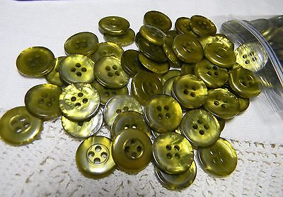 100 Gorgeous NOS Pearlized Buttons All Alike-Lime Green~Avocado~Destash Price