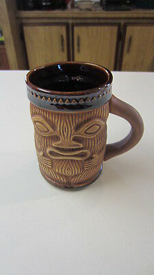 Vintage Tiki Coffee Mug / Cup, Brown Iridescent Glaze & Flat Carved Appearance