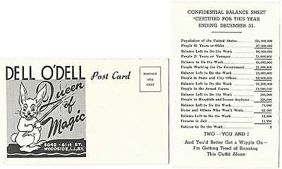 New Years Postcard-Dell O'Dell-Humorous balance sheet for year-ca1940s-v.Fine-Oh