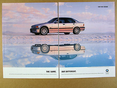 1997 BMW M3 Sedan silver car reflection photo vintage print Ad