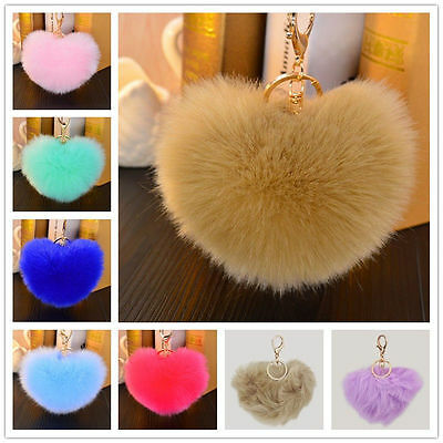Heart 12CM Faux Rabbit HQ Fur Fluffy Car Keychain Pendant Handbag Charm Keyring