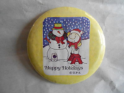 Vintage Ziggy Comic Character with a Snowman Happy Holidays UPS Pinback Button