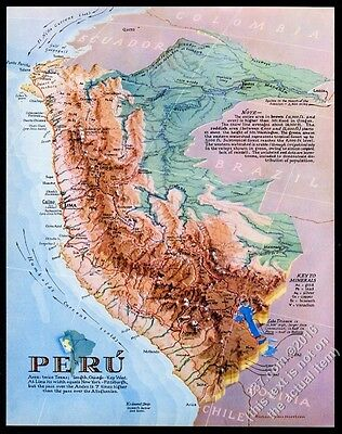 1938 Peru map nice color Richard Edes Harrison art vintage Fortune supplement