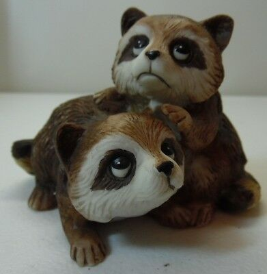 Homco Pair of Raccoons Porcelain Figure
