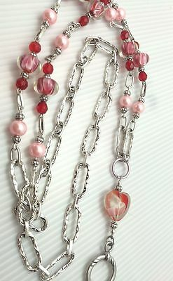 Red Pink Floating Hearts Lanyard, Silver Beaded ID Badge Holder, Breakaway opt,