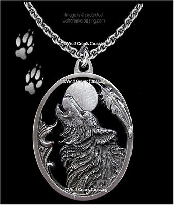 Moon Song Wolf Necklace - Diamond Cut Wolves Eagle Feather Gift - Free Ship C20