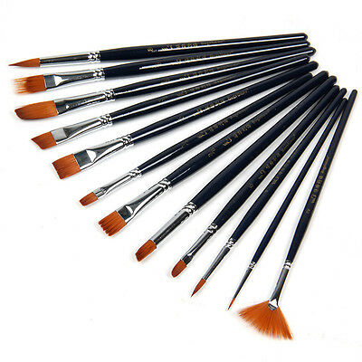 12pc Nylon Hair Paint Brush Set Artist Watercolor Acrylic Oil Painting Supplies
