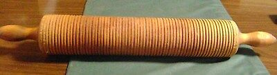 """Vintage Large Wooden Rolling Pin With Ridges 19"""" Long"""