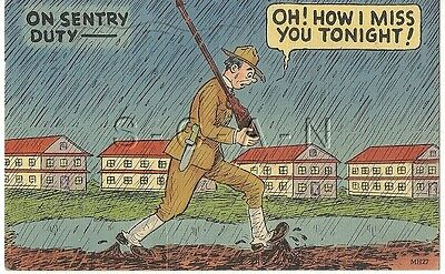 WWII Original 1940s Linen Army Comic PC- On Sentry Duty- Rain- Mud- Rifle- Hat
