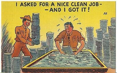 WWII Original 1940s Linen Army Comic PC- KP Duty- Wash Dishes- Nice Clean Job!