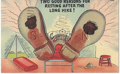 WWII Original 40s Linen Army Comic PC- Exaggerated Feet- Hole- Boots- Long Hike