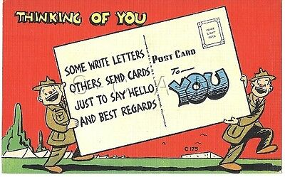 WWII Original 1940s Linen Army Comic PC- Thinking of You- Postcard to You