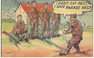 WWII Original 1940s Linen Army Comic PC- I Didn't Say Rest- I Said Parade Rest!