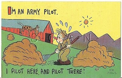 WWII Original 1940s Linen Army Comic PC- Barn- Horse Crap- I'm a Army Pilot